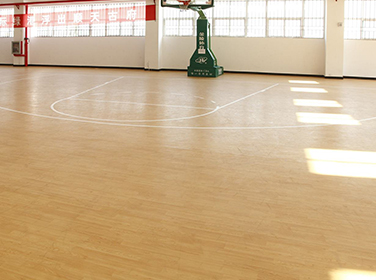 The floor of the basketball court